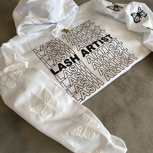 White Hoodie - Black Lash Artist Print