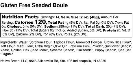 Gluten Free Seeded Boule - Nutrition Lab