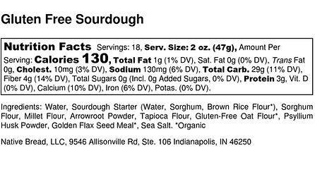 Gluten Free Sourdough  - Nutrition Label