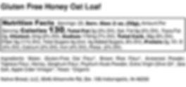 Gluten Free Honey Oat Loaf - Nutrition L