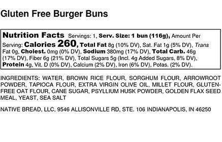 Gluten Free Burger Buns - Nutrition Labe