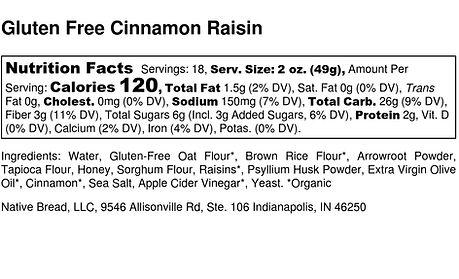 Gluten Free Cinnamon Raisin - Nutrition