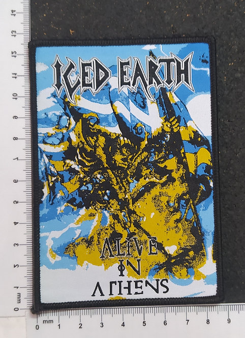 ICED EARTH - ALIVE IN ATHENS WOVEN PATCH (Blue border)