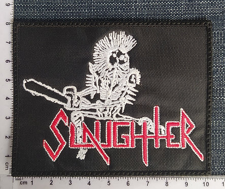 SLAUGTHER - LOGO SKULL EMBROIDERED PATCH