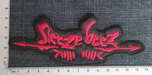 SLEEZE BEEZ - RED SHAPED LOGO EMBROIDERED PATCH