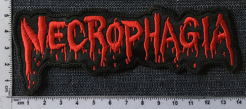 NECROPHAGIA - LOGO SHAPED EMBROIDERED PATCH