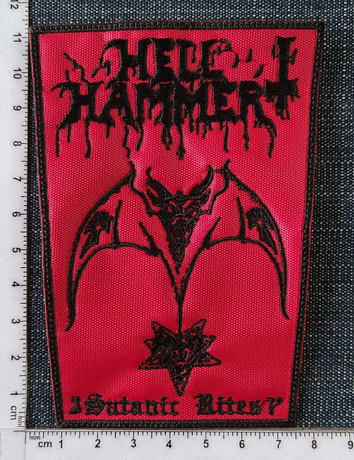 HELLHAMMER - SATANIC RITES RECTANGLE EMBROIDERED PATCH