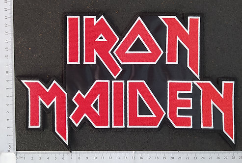 IRON MAIDEN - RED WHITE EMBROIDERED LOGO BACK PATCH