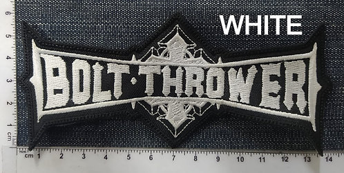 BOLT THROWER - LOGO SHAPED EMBROIDERED PATCH