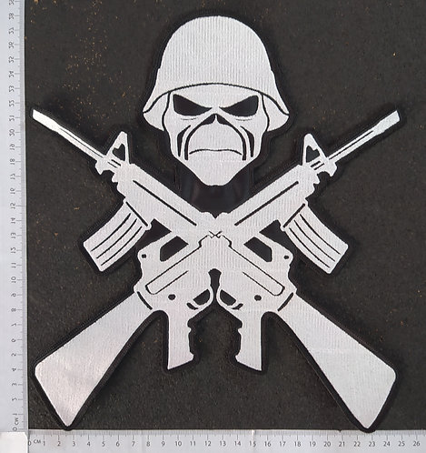 IRON MAIDEN - SHOOTGUNS EMBROIDERED LOGO BACK PATCH