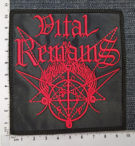 VITAL REMAINS - RED LOGO EMBROIDERED PATCH