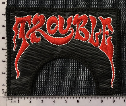 TROUBLE - RED/WHITE LOGO EMBROIDERED PATCH