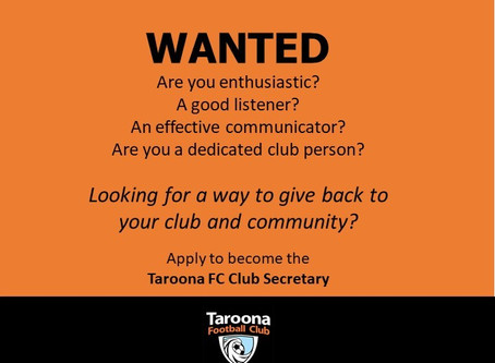 Taroona Football Club are looking for a new Club Secretary