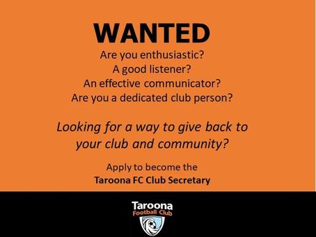 Taroona Football Club are looking for a new Club Secretary