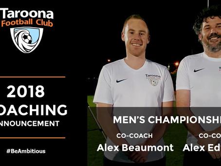 2018 MEN'S CHAMPIONSHIP 1 COACHES ANNOUNCED