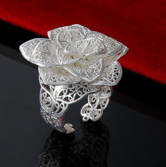 925 Sterling Silver Plated Rose Ring