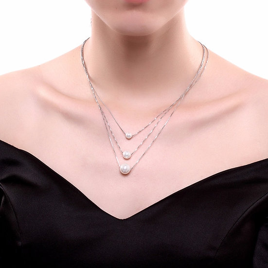 925 Sterling Silver Natural Three Pearls Necklace