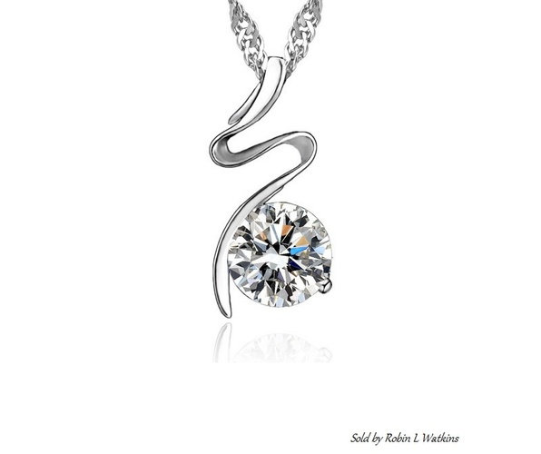 925 Sterling Silver Pendant with Large CZ