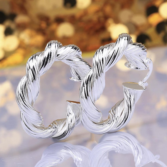 Silver Plated Twisted Earrings