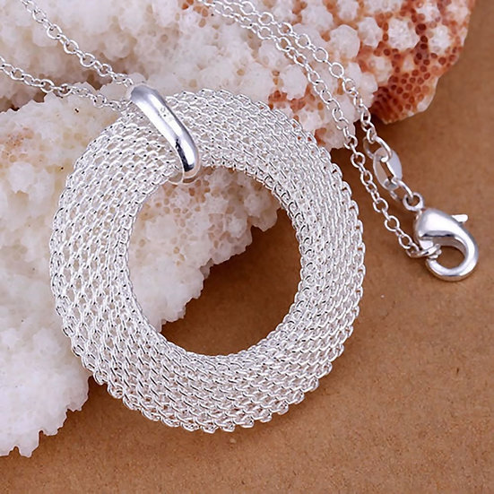 "Sterling Silver Braided Mesh Circle Pendant + 18"" O ring Necklace"