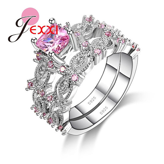 925 Sterling Silver Pink Cubic Zirconia Crystal Couple Rings Set