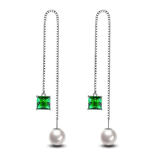 Tassel And Fresh Water Pearl Earrings 925 Sterling Silver