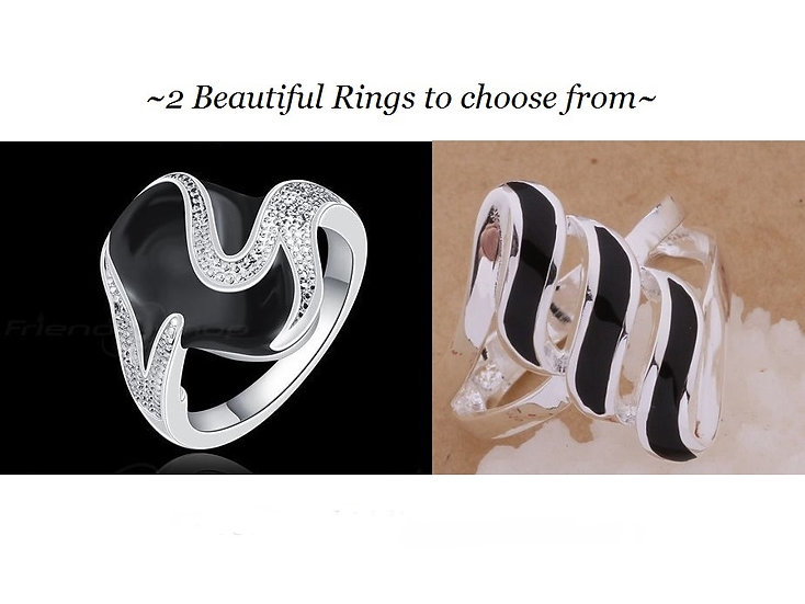 Black Ceramic Silver Plated Rings Size 6,7,8 or 9