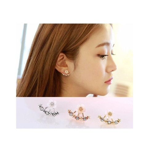 White or Yellow Gold Plated with Crystals Ear Studs Earrings