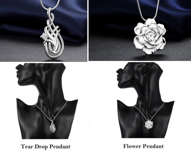 Tear Drop or Flower Pendant Silver Plated
