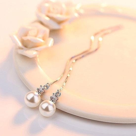 Tassel Threaded Simulated Pearl Earrings