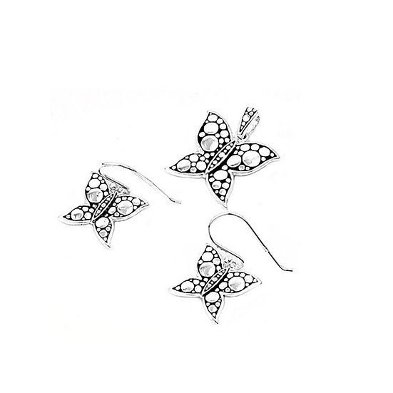 Butterfly Set with Marcasite & Sterling Silver