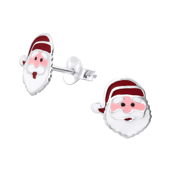Santa Claus or Silver Christmas Stocking Shaped Ear Studs
