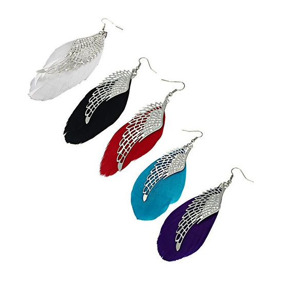 Retro Angel Wings Wing Shaped Feather Hook Earrings