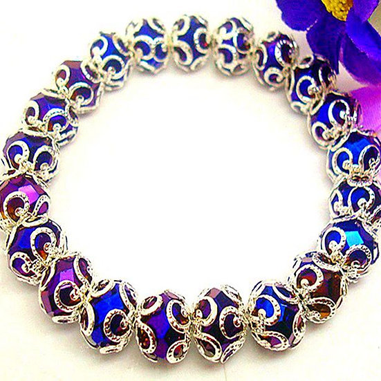 Filigree Silver Plated Flower Crystal Stretch Bracelet