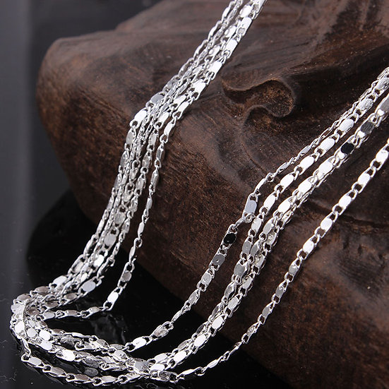 "Silver Plated Smooth Chain 16"" 18"" 20"" 22"" 24"" 26"" 28"" 30"""