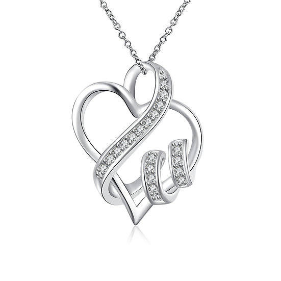 Silver Heart Pendant with Link Chain