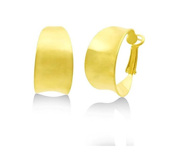 Gold Graduated Flat Matte Gold Hoop Earrings Premium 24K Heavy Plated