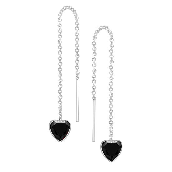 Sterling Silver & CZ Heart Threader Earrings