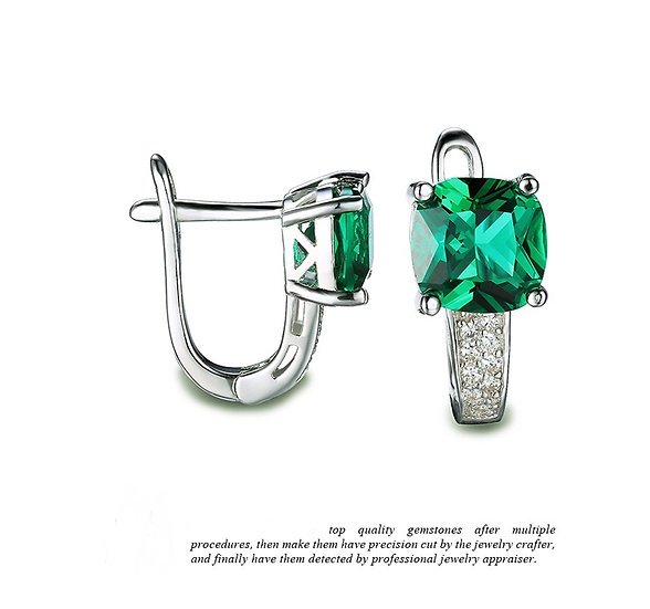 Nano Russian Emerald Earrings Solid 925 Sterling Silver Square Cut