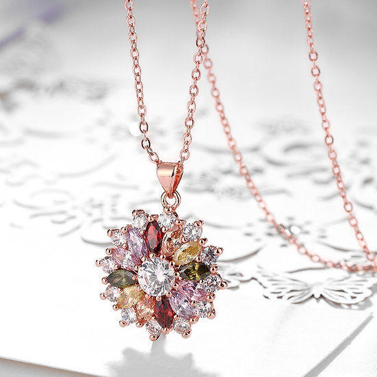 Rose Gold Color Genuine Austrian Crystal Pendant Necklace