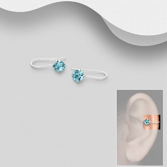 925 Sterling Silver Ear Cuffs with Crystal Glass