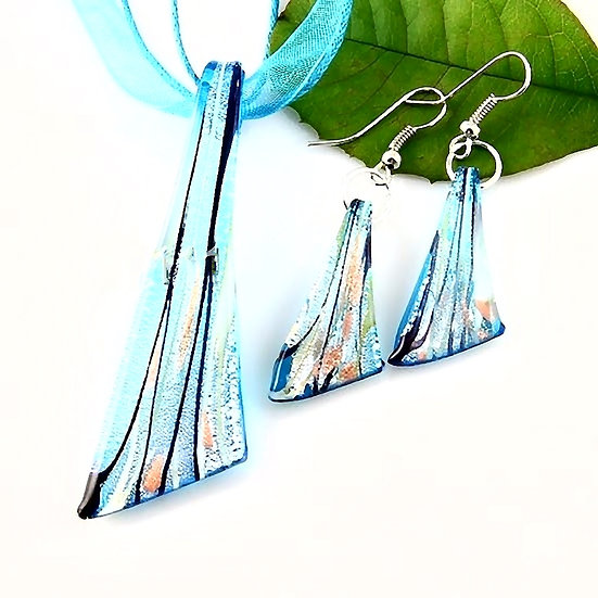 Foil Venetian Murano Glass Pendants And Earrings
