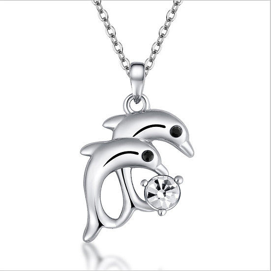 "Double Dolphin Pendant Silver Plated with 18"" Necklace"