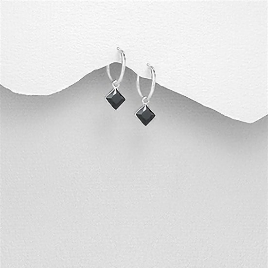 925 Sterling Silver Hoop Earrings Decorated With CZ