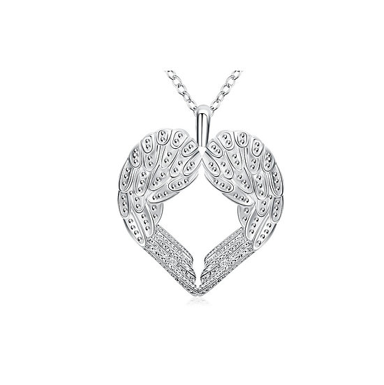 """Silver Plated Angel Heart Wing Pendant Plus Silver O Ring chain 18"""""""