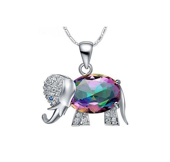 Elephant Pendant Necklace Choose Rainbow Mystic , Red, Blue or Purple