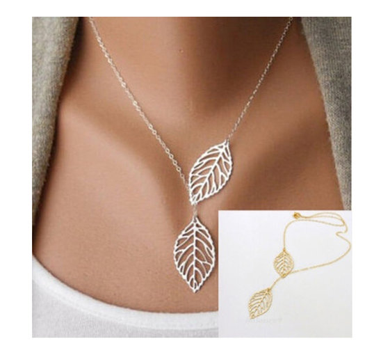 18k Gold Plated or Silver Plated Two Leaf Pendant Necklace