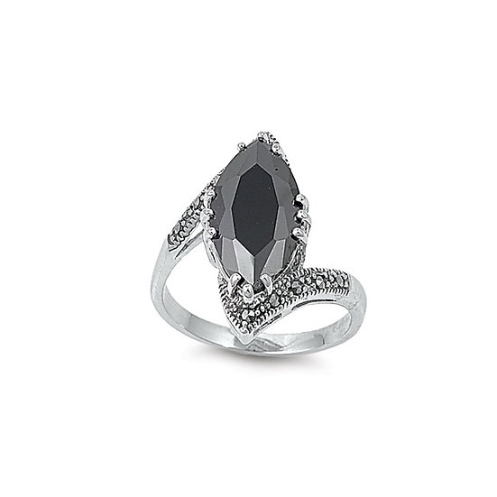 Rhodium Plated Brass Ring W/ Marcasite