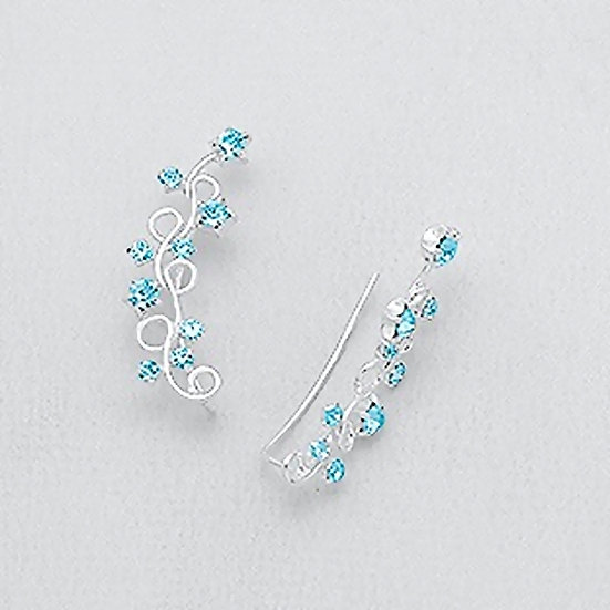 925 SS Ear Pins Earrings With Crystal Glass
