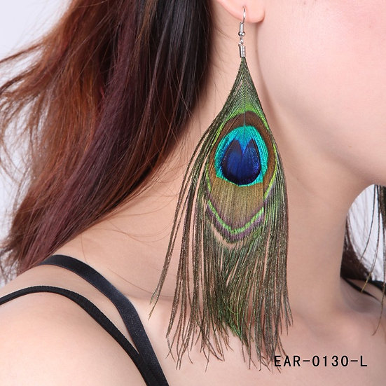 Wonderful Blue Real Peacock Long or Short Feather Earrings
